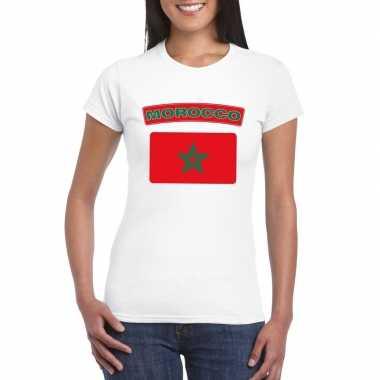 Marokkaanse vlag wit dames t-shirt kopen