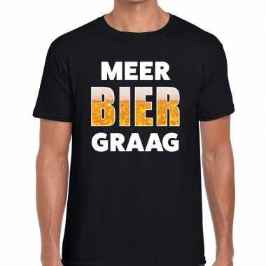 Meer bier graag tekst zwart heren t-shirt kopen