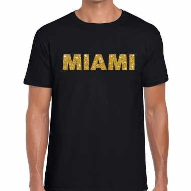 Miami gouden glitter tekst zwart heren t-shirt kopen