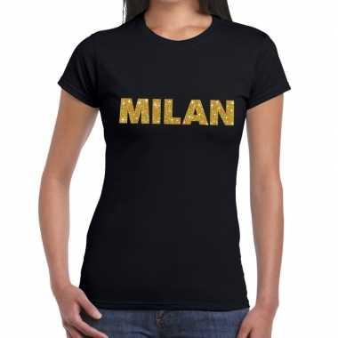 Milan gouden glitter tekst zwart dames t-shirt kopen