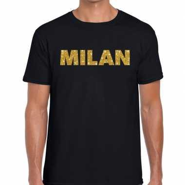 Milan gouden glitter tekst zwart heren t-shirt kopen