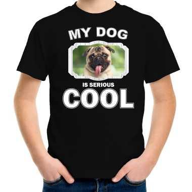 Mopshond honden my dog is serious cool zwart kinderen t-shirt kopen