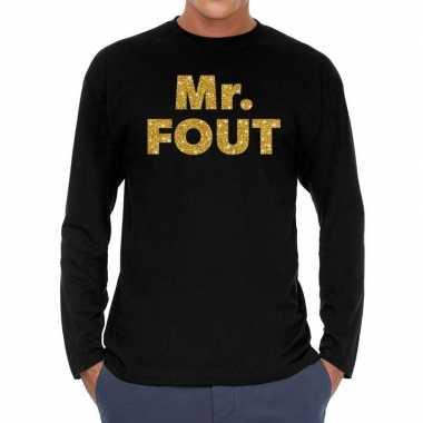 Mr. fout goud glitter long sleeve zwart heren t-shirt kopen