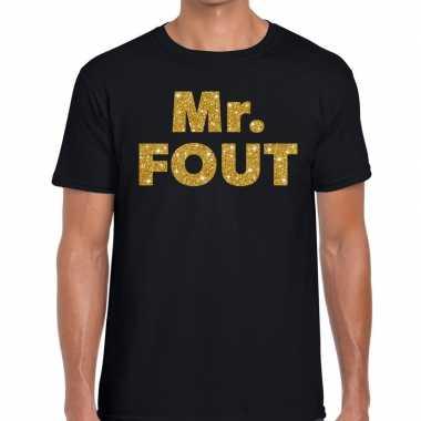 Mr. fout gouden glitter tekst zwart heren t-shirt kopen