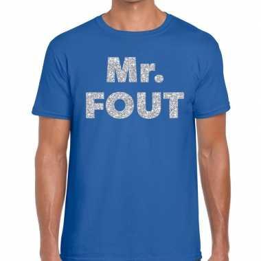 Mr. fout zilveren glitter tekst blauw heren t-shirt kopen