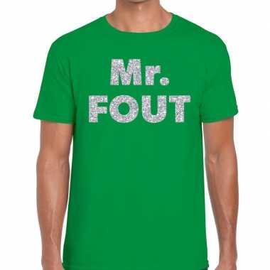Mr. fout zilveren glitter tekst groen heren t-shirt kopen