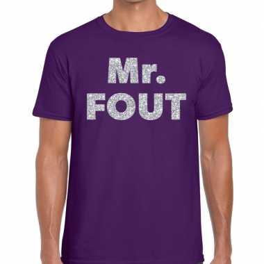 Mr. fout zilveren glitter tekst paars heren t-shirt kopen