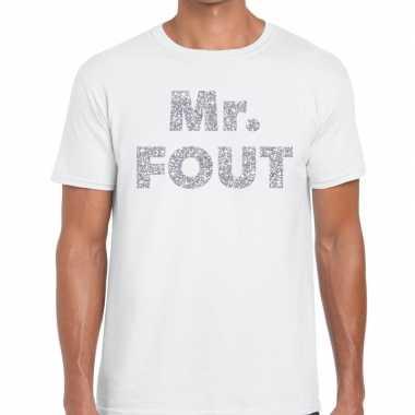 Mr. fout zilveren glitter tekst wit heren t-shirt kopen