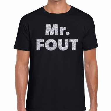 Mr. fout zilveren glitter tekst zwart heren t-shirt kopen