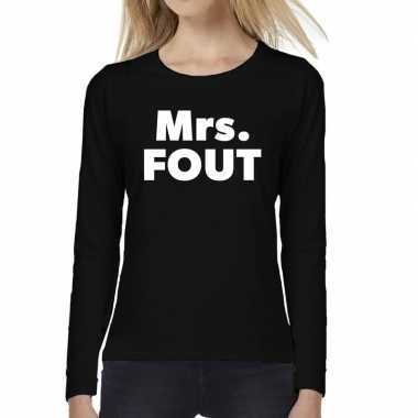 Mrs. fout tekst long sleeve zwart dames t-shirt kopen