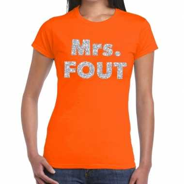 Mrs. fout zilver glitter tekst oranje dames t-shirt kopen