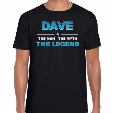 Naam cadeau dave the legend zwart heren t-shirt kopen