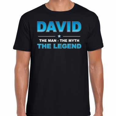 Naam cadeau david the legend zwart heren t-shirt kopen