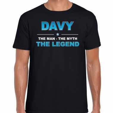 Naam cadeau davy the legend zwart heren t-shirt kopen