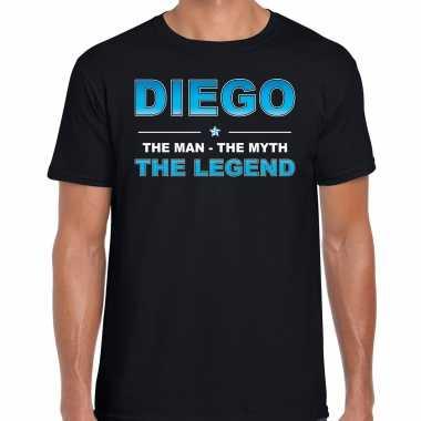 Naam cadeau diego the legend zwart heren t-shirt kopen