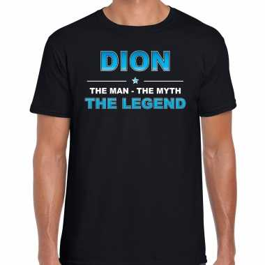 Naam cadeau dion the legend zwart heren t-shirt kopen