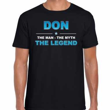 Naam cadeau don the legend zwart heren t-shirt kopen