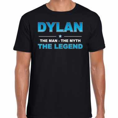 Naam cadeau dylan the legend zwart heren t-shirt kopen