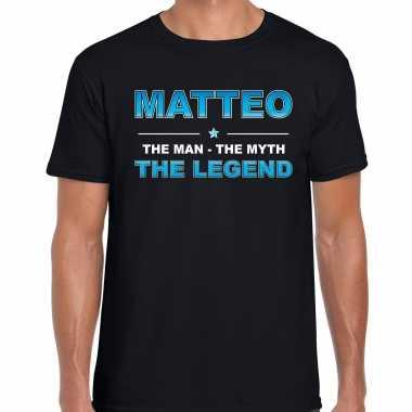 Naam cadeau matteo the legend zwart heren t-shirt kopen
