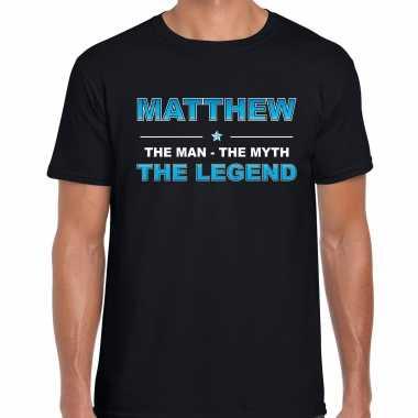 Naam cadeau matthew the legend zwart heren t-shirt kopen
