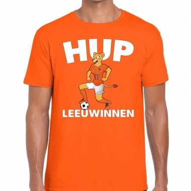 Nederland supporter hup leeuwinnen oranje heren t-shirt kopen
