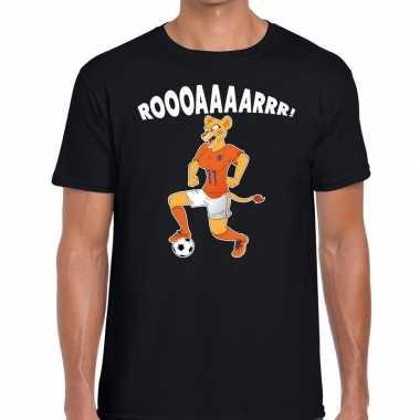 Nederland supporter leeuwin roooaaaarrr zwart heren t-shirt kopen