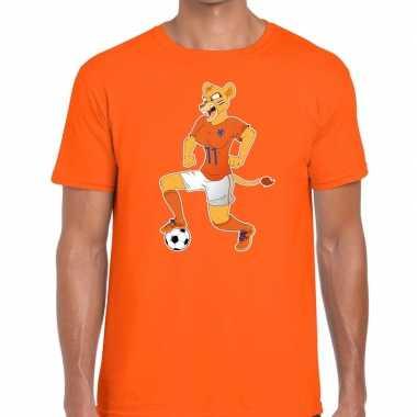 Nederland supporter leeuwin voetbal oranje heren t-shirt kopen