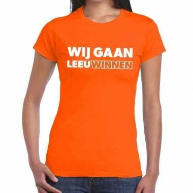 Nederland supporter wij gaan leeuwinnen oranje dames t-shirt kopen