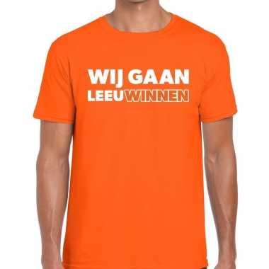 Nederland supporter wij gaan leeuwinnen oranje heren t-shirt kopen