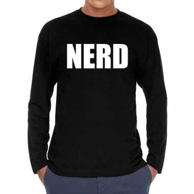Nerd long sleeve zwart heren t-shirt kopen