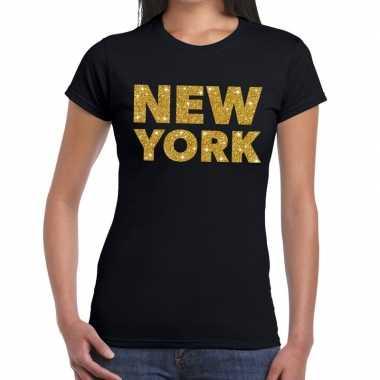 New york gouden glitter tekst zwart dames t-shirt kopen