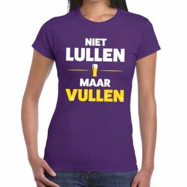 Niet lullen maar vullen tekst paars dames t-shirt kopen
