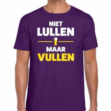Niet lullen maar vullen tekst paars heren t-shirt kopen