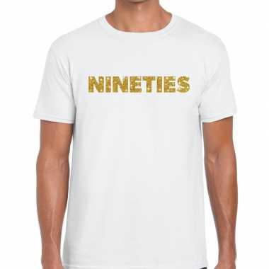 Nineties goud glitter tekst wit heren t-shirt kopen