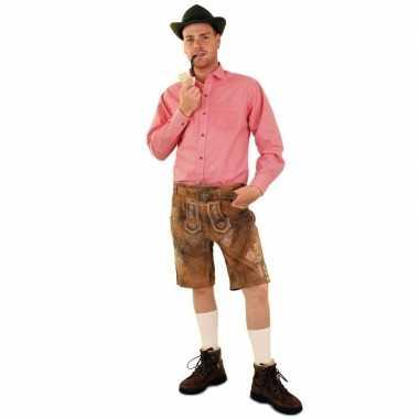 Oktoberfest tiroler blouse rood/wit geblokt heren t-shirt kopen