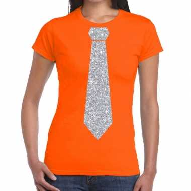 Oranje fun stropdas glitter zilver dames t-shirt kopen