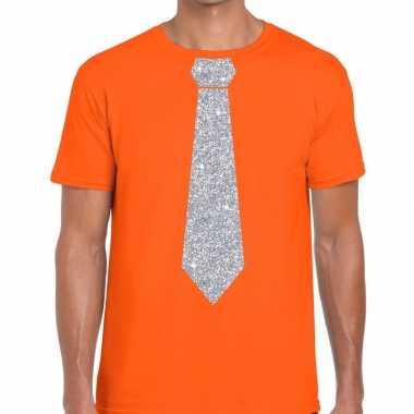 Oranje fun stropdas glitter zilver heren t-shirt kopen