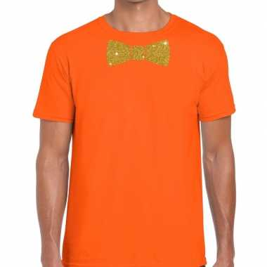 Oranje fun vlinderdas glitter goud heren t-shirt kopen
