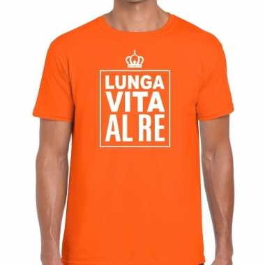 Oranje lunga vita al re italiaans heren t-shirt kopen