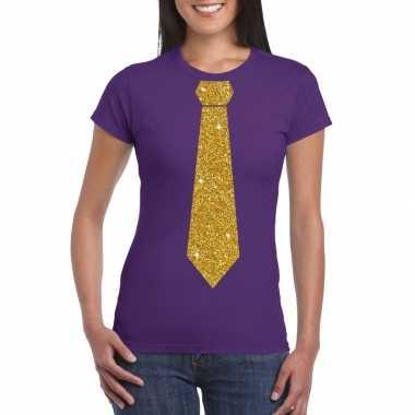 Paars fun stropdas glitter goud dames t-shirt kopen