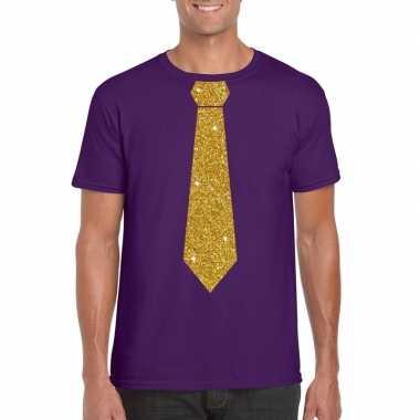 Paars fun stropdas glitter goud heren t-shirt kopen