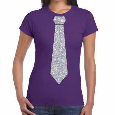 Paars fun stropdas glitter zilver dames t-shirt kopen