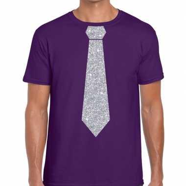 Paars fun stropdas glitter zilver heren t-shirt kopen