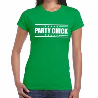 Party chick groen dames t-shirt kopen