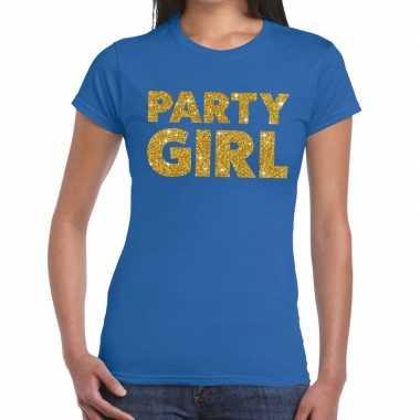 Party girl glitter tekst blauw dames t-shirt kopen