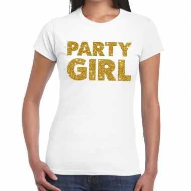 Party girl glitter tekst wit dames t-shirt kopen