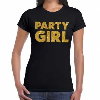 Party girl glitter tekst zwart dames t-shirt kopen