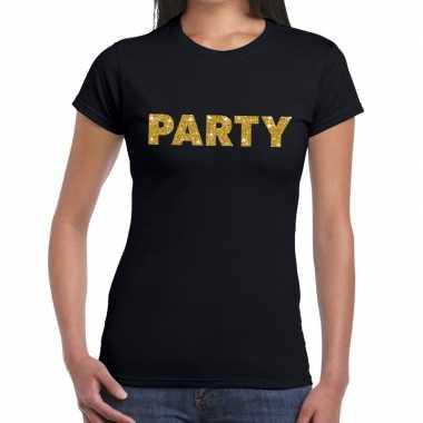 Party goud glitter tekst zwart dames t-shirt kopen