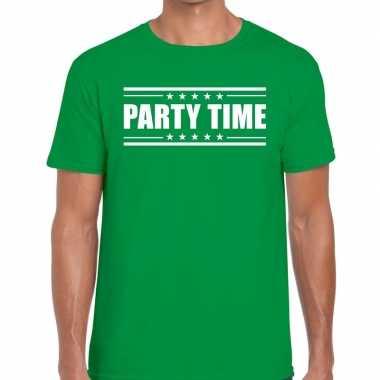 Party time groen heren t-shirt kopen