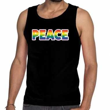 Peace gay pride tanktop/mouwloos zwart heren t-shirt kopen
